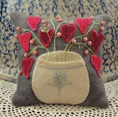 Cute wool applique pincushion. love this for Valintines day