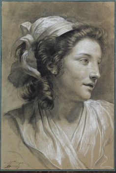 "Francois-Andre Vincent, ""Portrait of Marie-Gabrielle Capet,"" ca. 1782, black and white chalk on paper."