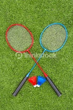 Picture of Two Badminton Rackets And Shuttlecocks On Artificial Turf. Stock Photo by Thomas Northcut from the collection Photodisc. Get affordable Stock Photos at Thinkstock. Badminton Racket, Tennis Racket, Artificial Turf, Rackets, Stock Photos, Astroturf