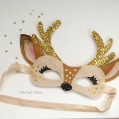 Oh Deer Mask Glitter Antlers Headband, Christmas, Little Magic Pieces - Bastelarbeiten - Carnaval Felt Crafts, Diy And Crafts, Diy For Kids, Crafts For Kids, Antler Headband, Selling Handmade Items, Handmade Products, Elastic Ribbon, Animal Masks