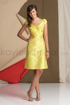 Kaylees Bridal - Dupioni Scoop Neckline Cap Sleeves Knee-Length A-line Bridesmaid Dress