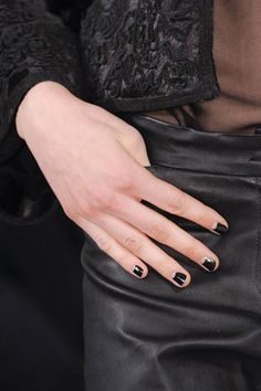Nude half-moons on black #Nails