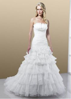 STYLISH ORGANZA SATIN A-LINE STRAPLESS NECKLINE WEDDING DRESS WITH BEADINGS AND MANMADE DIAMONDS