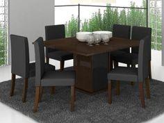 Conjunto de Mesa com 6 Cadeiras Estofadas Madesa - Genova