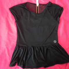 American Eagle Peplum Black peplum blouse with black mesh sleeves and along the upper back and pink stitching on the back mesh, stretchy material, slight wear on sleeves (barely noticeable) American Eagle Outfitters Tops Blouses