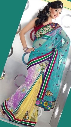 Lehenga Style Brasso Saree Net Saree Designs, Saree Blouse Designs, Bollywood Designer Sarees, Indian Designer Sarees, Bollywood Party, Lehenga Style, Party Wear Sarees, Party Fashion, Latest Trends