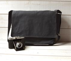 BLACK CANVAS Messenger bag  / Shoulder Bag / Laptop Bag by ikabags,
