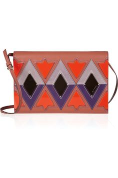 Etro  Patterned leather and resin clutch