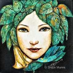 girl art print, forest girl, girl with leaves, fairy art, giclee print by Shijun-Art gift-Fantasy wall art-Oil painting print Unique Paintings, Beautiful Paintings, Art Paintings, Painting Prints, Fine Art Prints, Decoupage, Forest Girl, Spring Art, We Are The World
