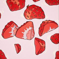 """""""strawberries and milk"""" Strawberry Drawing, Strawberry Art, Strawberry Smoothie, Strawberry Fields, Strawberry Shortcake, Animes Wallpapers, Cute Wallpapers, Wallpaper Backgrounds, Phone Wallpapers"""