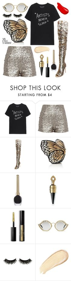 """""""It's all about the T #3"""" by juliedebbas ❤ liked on Polyvore featuring Judith Leiber, Guerlain, Gucci, Boohoo, Burberry and MyFaveTshirt"""