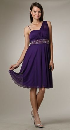 Purple Bridesmaid Dress Short Knee Length Greek Style Casual Dress
