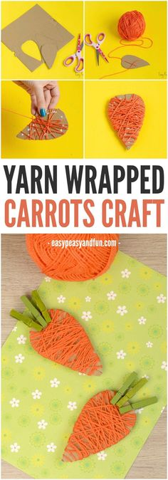 Yarn Wrapped Carrot Craft for Kids Bricolages pour Enfants Yarn Wrapped Carrot Craft for Kids Easter Art, Easter Crafts For Kids, Toddler Crafts, Diy For Kids, Craft Kids, Easter Bunny, Classroom Crafts, Preschool Crafts, Fun Crafts