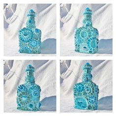 A Study in Turquoise - mosaic bottle by Waschbear - Frances Green, via Flickr