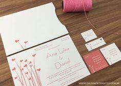 Identidade visual casamento composta por: convite de casamento, cartão de agradecimento e convite individual. Modelo 26