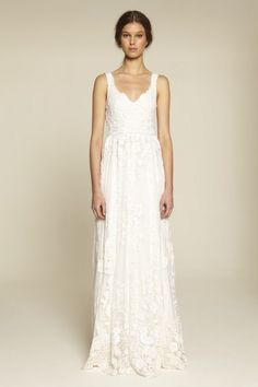 French Lace & Cotton Embroidery Sleeveless Bridal Gown