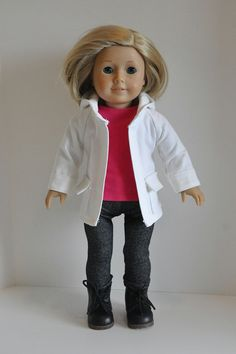 American Girl Doll Clothes White Denim Hooded by CircleCSewing, $24.00