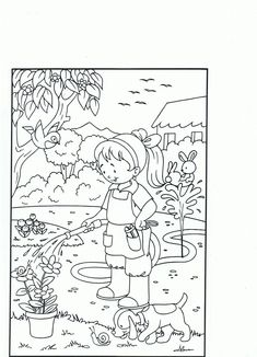 Garden Coloring Pages, Spring Coloring Pages, Colouring Pages, Free Coloring, Coloring Pages For Kids, Adult Coloring, Coloring Books, Preschool Social Studies, Art Drawings For Kids