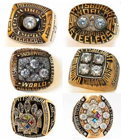 All six of the Steelers' Super Bowl rings. Yes, that's Terry Bradshaw's name on one of them. (via Pittsburgh Steelers Fans) Steelers Super Bowl Rings, Steelers Rings, Steelers Gear, Steelers Stuff, Steelers Raiders, Oakland Raiders, But Football, Pittsburgh Steelers Football, Pittsburgh Sports