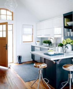 again -- liking contrast white upper cabinets; colored base, chrome, wood floor
