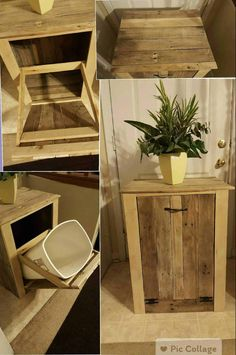 Garbage Can Holder Out Of Pallet Wood Garbage Can Holder Out Of Pallet Wood Boxes & Chests Kitchen Pallet Projects