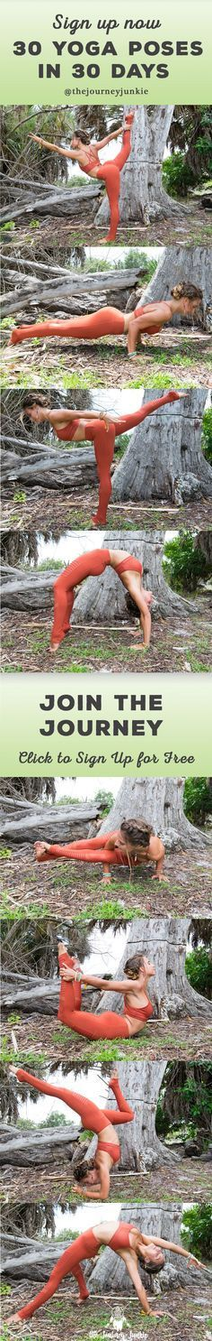Learn 30 Yoga Poses in 30 Days - Join the Journey Now, It's Free!  The journey includes 30 days of free yoga video tutorials, plus personalized tips & tricks from Allie (The Journey Junkie)!