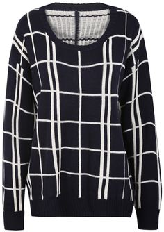 Navy Long Sleeve Plaid Knit Sweater US$22.46