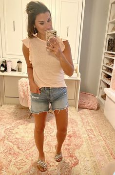 Fashion Look Featuring Free People Clothes and Shoes and Crown Vintage Sandals by justposted - ShopStyle Summer Shorts, Summer Outfits, Social Threads, Target Clothes, Ootd, Sonoma Goods For Life, Petite Tops, Ruffle Shorts, Daily Look
