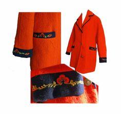 Red Wool Coat Vintage 50s Coat Stroller Car Coat XL William Schmidt Oslo Brass Buttons Embroidery Trim