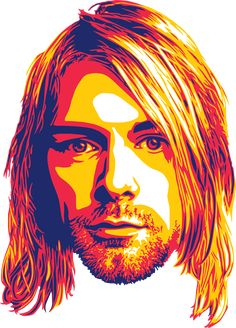 Cobain Sticker by Santiago Vidal - White Background - Musik Illustration, Digital Illustration, Art Pop, Vector Portrait, Portrait Art, Kurt Cobain Art, Kurt Cobain Painting, Nirvana Art, Rock Band Posters