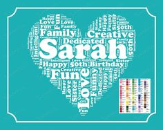 Personalized 50th Birthday Gift 50th Birthday Word Art 50th Birthday 8 x 10 Fifty Birthday Gift Ideas DIGITAL DOWNLOAD .JPG