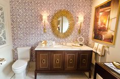 ** Amazing Circa Lighting decorating ideas for Alluring Bathroom Contemporary design ideas with artwork console fretwork gold lavender marble counter mirror purple single sink sink