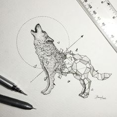 Wild Animals and Geometric Shapes Are Fused Together in Beautiful Drawings Geometric Tiger, Geometric Drawing, Geometric Shapes, Geometric Tattoos, Wolf Tattoos, Animal Tattoos, Abstrakt Tattoo, Wolf Sketch, Wolf Illustration