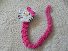 crochet Hellow Kitty pacifier clip - I'm seeing: joing ends; adding elastic (or crocheting it in at I go); and a little girls bracelet