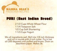 Passover / Feast of Unleavened Bread Recipe: Puri (East Indian Bread)