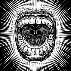 Mouth Open Scream Ink Hand Draw Vintage Tattoo - Tattoos Vectors
