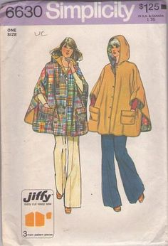 MOMSPatterns Vintage Sewing Patterns - Simplicity 6630 Vintage 70's Sewing Pattern GROOVY Easy Jiffy Full Flared Reversible Hooded Poncho, S...