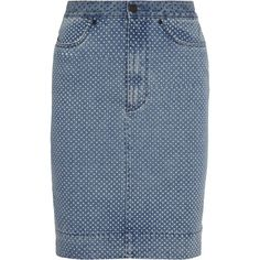 Sister by Sibling Polka dot-print denim pencil skirt found on Polyvore