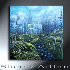 Blue  Heart Trees Stone Path City In The Distance Original Landscape Artwork 25x25 The Way To Sapphire City