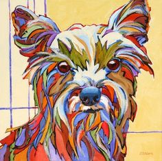 Riley, contemporary dog portrait painting, painting by artist Carolee Clark