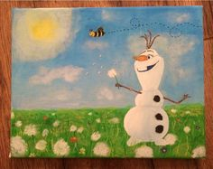Hand Painted Olaf In Summer From Frozen 11X14 Wall by FooArt ONLY $37.99!!!!!!!