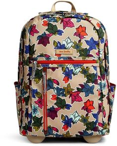 Vera Bradley Falling Flowers Neutral Lighten Up Rolling Backpack d8485c846b8c1
