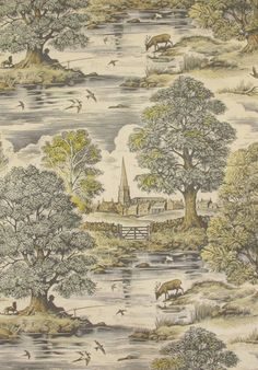 Lewis & Wood ROYAL OAK This magnificent large scale design, cut in wood and then enlarged, makes for a bold and dramatic fabric. Featuring the towering spire of St Mary's Church Tetbury, the River Avon and birds and animals, it is a striking and beautiful contemporary Toile which depicts a bucolic tableau of country life. The clue to the name is concealed in the oak tree above the peaceful fisherman. Royal Oak comes in two colourways. @JLambethCo & www.jlambeth.com