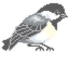 Chickadee counted crossstitch chart by 5PrickedFinger5 on Etsy, $3.00