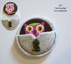 Taschenspiegelset  Eule - Wollfilzhülle rund von ღKreawusel-Designღ auf DaWanda.com