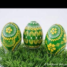 Green & Yellow Ukrainian Eggs. Pysanka