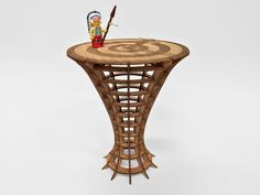 Tiny 3D Table - 2.5mm plywood, laser cut and etched from a sliced 3D model using Autodesk 123dMake.