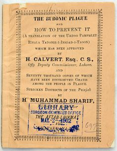 Pamphlet from Lahore on how to prevent Bubonic Plague