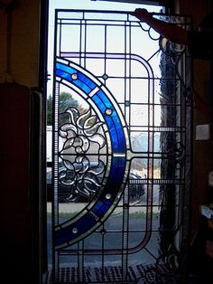 Holme valley stained glass repaired art deco door panels art the client requested that we replace the large single piece of textured glass in each pocket door with stained glass panels designed to fit the age o planetlyrics Images