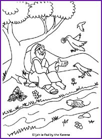 elijah and ravens coloring page kids korner biblewise - Elijah Bible Story Coloring Pages